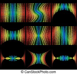 set abstract multicolored graphic equalizer vector illustration