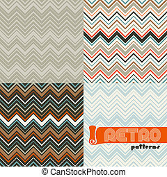 set, abstract, patterns., seamless, vier, retro