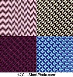 Set abstract seamless patterns with colorful rhombus