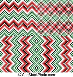 set, abstract, seamless, zigzag, motieven, gestreepte , kerstmis