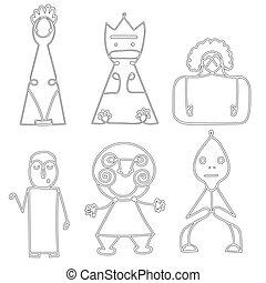 set, abstract, symbolen, vector, menselijk, poppetjes