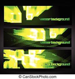 set, abstract, vector, groene, 4, spandoek