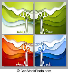 Set Abstract vector paper trees. Four seasons