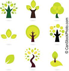 set, abstract, vrijstaand, bomen, vector, witte
