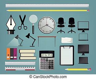 set, accessoires, kantoor