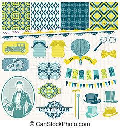 set, -, accessoires, vector, ontwerp, plakboek, gentlemen's,...
