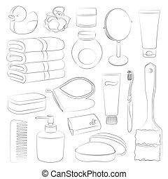 set, accessori, bagno