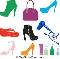 set, accessori, donne