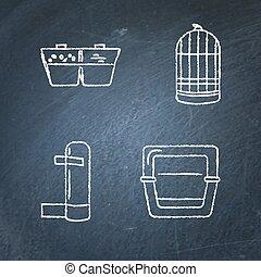 set, accessori, lavagna, uccello gabbia, icona