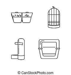 set, accessori, linea, uccello gabbia, icona