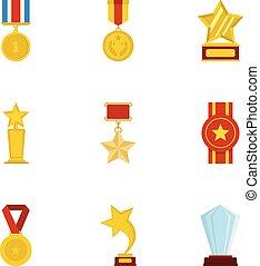 set, accolade, iconen, stijl, spotprent