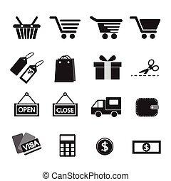 set., achats, icône