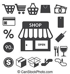set., achats, illustration, icônes
