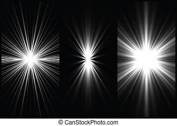 set, achtergrond., vector, verlichting, black , witte