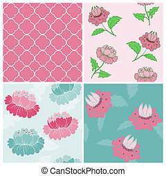 set, -, achtergronden, seamless, vector, ontwerp, ouderwetse , floral, plakboek