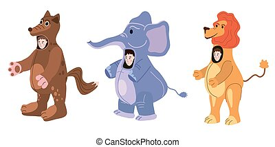 Set Actors in animal Wolf, Elephant, Lion costume. Theme party, Birthday kid, children animator, entertainer wearing performer character for holiday masquerade, carnival. Vector cartoon flat style isolated