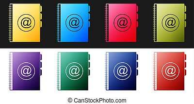 Set Address book icon isolated on black and white background. Notebook, address, contact, directory, phone, telephone book icon. Vector