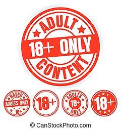 set, adulti, icone, 18, età, isolato, fondo., francobolli, vettore, only., grungy, bianco, limit., rotondo, rosso, illustration.
