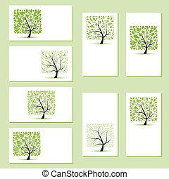 set, affari, albero, cartelle, disegno, floreale, tuo