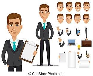 set, affari, creazione, carattere, cartone animato, uomo