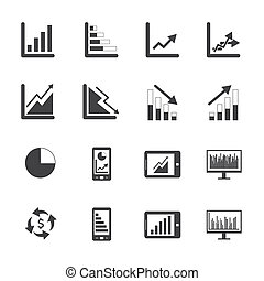 set, affari, grafico, nero, bianco, icona