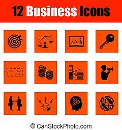 set, affari, icona