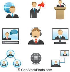 set, affari persone, icone