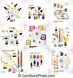set, affari, pezzi, nove, infographics, bianco