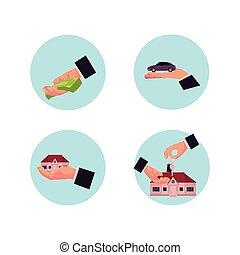 set, affari, vettore, mani, icona, uomo