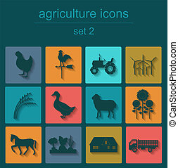 Set agriculture, animal husbandry icons. Vector illustration
