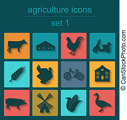 Set agriculture infographics