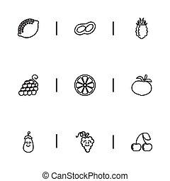 set, agrume, affettato, infographic, rapa, design., ciliegia, cottura, 9, essere, usato, mobile, editable, icons., include, web, tale, more., simboli, contorno, ui, lattina