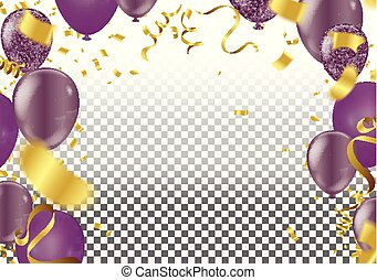 Set. Air Balls. Gold and purple Balloons. Festive background...