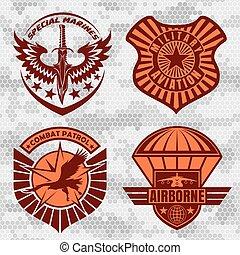 set, airforce, etiketten, -, lappen, machten, militair,...