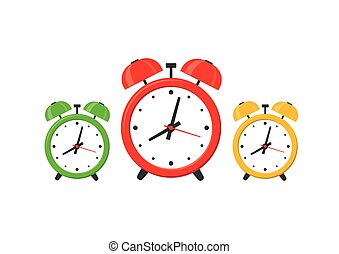 Set Alarm clocks isolated on white background in flat style. Vector illustration