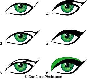 set, alato, fare, trucco, eyeliner, questo, trick.,...