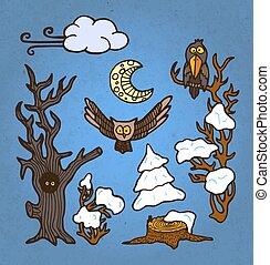 set, albero, mano, vettore, illustrazione, disegnato, uccelli