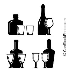 alcohol beverage icons with bottle