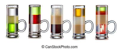 set, alcolico, isolato, cocktail, a più livelli, bianco