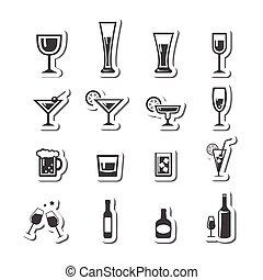 set, alcool, icone, beva bibita, 177