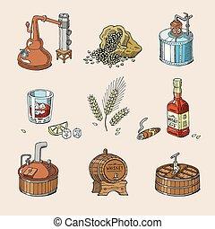 set, alcool, whisky, bottiglia, bevanda, distillazione, isolato, illustrazione, vetro, brandy, vettore, fondo, bourbon, scotch, o, bevanda