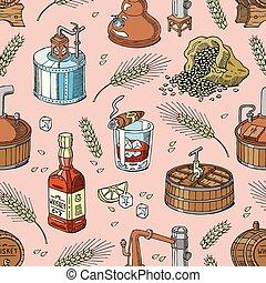 set, alcool, whisky, bottiglia, bevanda, distillazione, seamless, illustrazione, vetro, brandy, vettore, motivi dello sfondo, bourbon, scotch, o, bevanda
