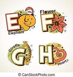 set, alfabet, h, e
