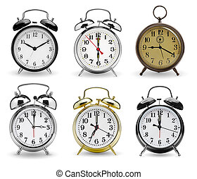 set, allarme, isolato, clocks, fondo, bianco