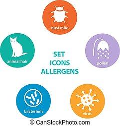 set, allergen, icone