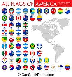 set, alphabetically, america., bandiera, bandiere, fascicolato, cerchio, rotondo