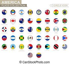 set, alphabetically, america., bandiere, fascicolato, cerchio, flags., rotondo