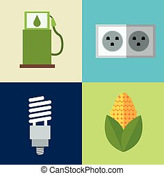 set alternative energy icons