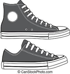 set, alto, vettore, scarpe tennis, basso, drawn.