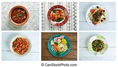 set American cuisine - Food set American cuisine.collage
